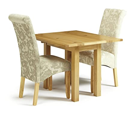 Brent Extendable Folding Oak Rectangular Table 2 Kingston Comfy Chenille Fabric Sage Floral Chairs With