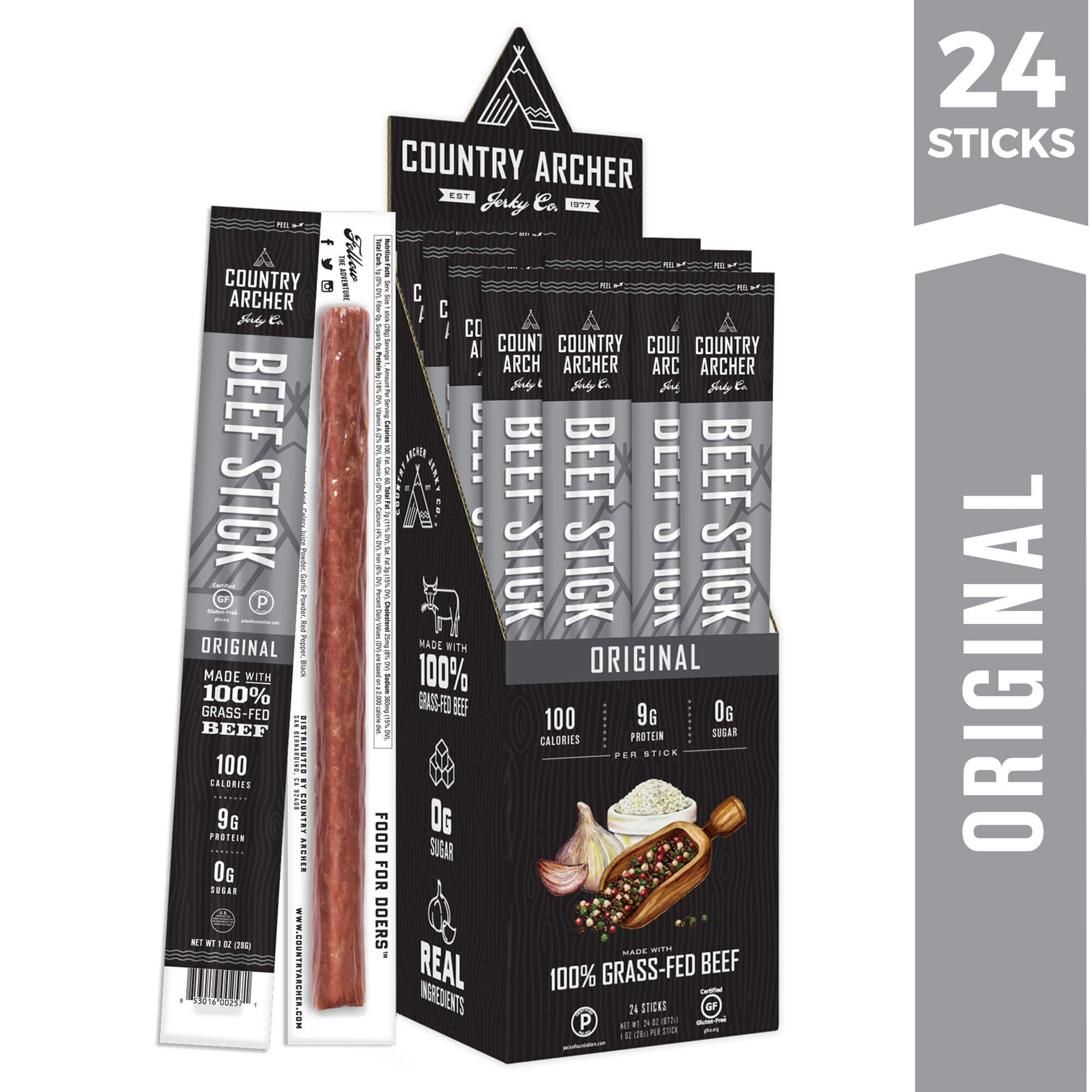 Original Beef Sticks by Country Archer | 100% Grass-Fed | Certified Keto, Paleo, Gluten Free | 24 Count