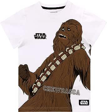 Star Wars Camiseta de Manga Corta para Niños Chewbacca La Guerra de Las Galaxias