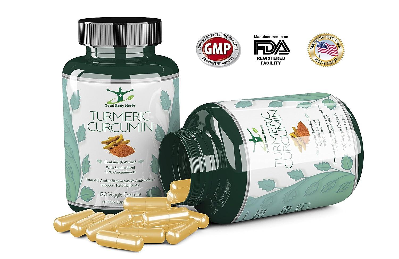 Organic Turmeric Curcumin With Bioperine Black Pepper Counterpain 60gram Extract 120 Veg Capsules Standardized To 95 Curcuminoids For Superior Absorption