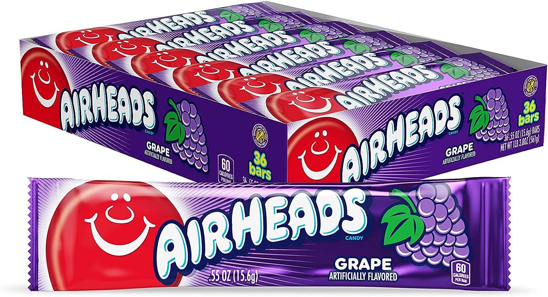 Airheads Bars, Grape, 0.55 Ounce (Pack of 36): Amazon.es: Alimentación y bebidas