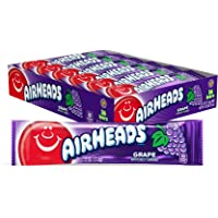 Airheads Candy, Individually Wrapped Full Size Bars, Grape, Bulk Taffy, Non Melting, Party, 0.55 oz (Pack of 36)