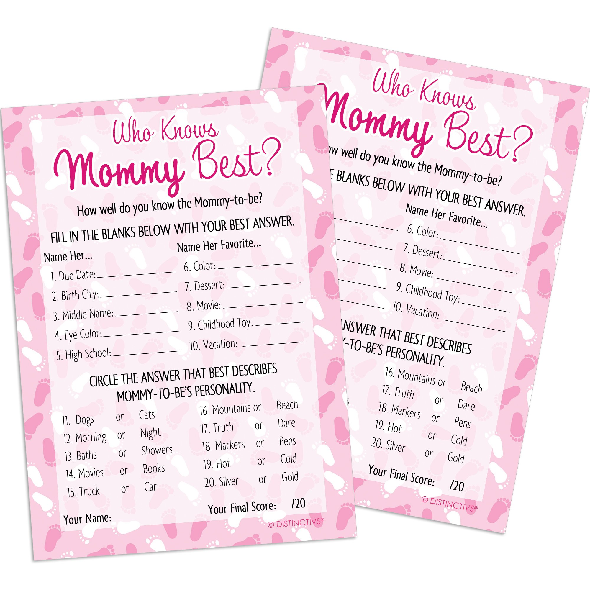 DISTINCTIVS Who Knows Mommy Best - Pink Girl Baby Shower Game Cards (20 Count)