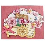 Birthday Floral Wagon Decorative Pop Up Greeting