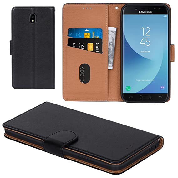 meet ba9de 7dcb9 Galaxy J7 Pro 2017 Case, Aicoco Flip Cover Leather, Phone Wallet Case for  Samsung Galaxy J7 Pro 2017 - Black