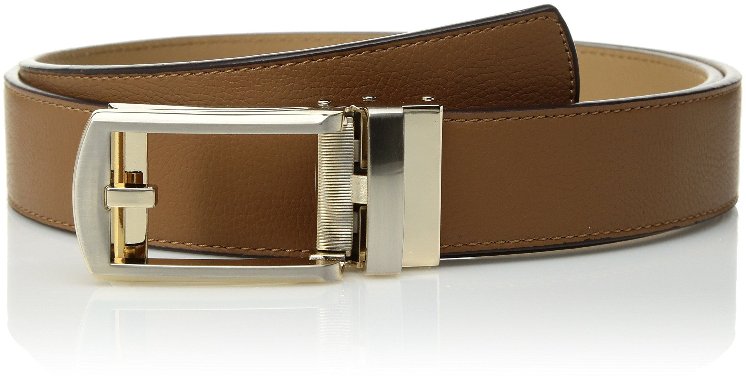 Comfort Click Men's Adjustable Perfect Fit Leather Belt-As Seen on TV, Camel/Brushed Gold-Pebble, ONE SIZE