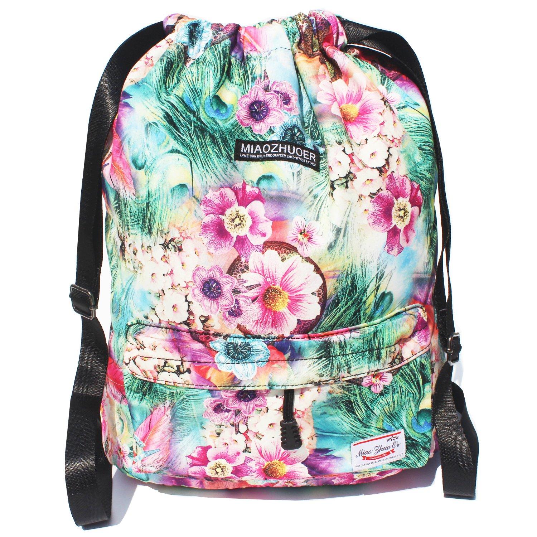 ESVAN Drawstring Bag Original Floral Backpack for Travel School Gym Beach 2 Sizes