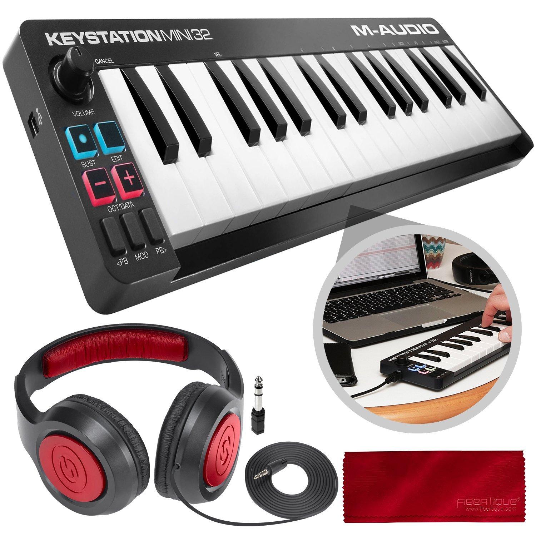 M-Audio Keystation Mini 32 MK3 Portable Mini-USB MIDI Controller with Stereo Headphones Accessory Bundle by M-Audio