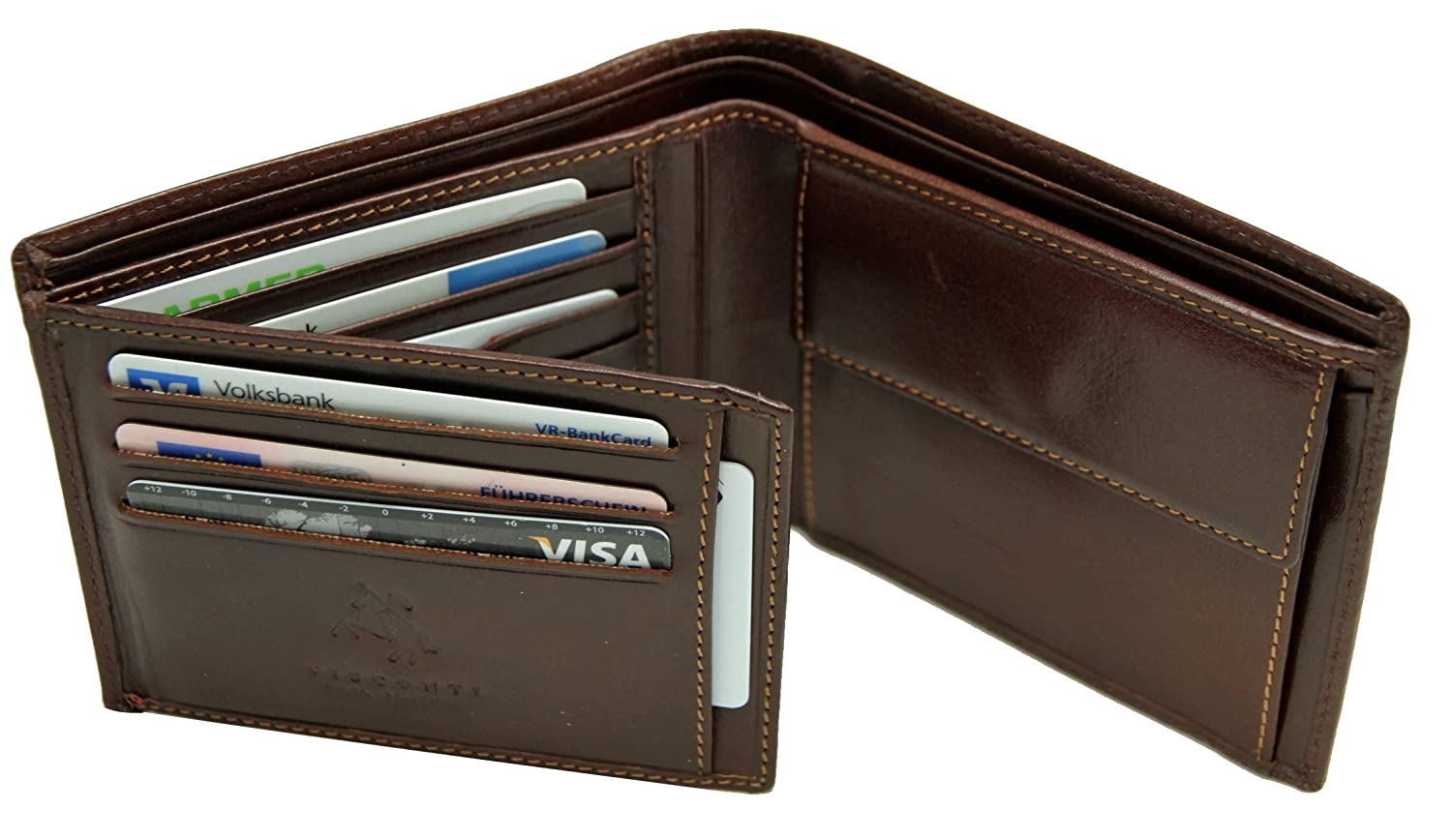 Visconti Portefeuille Cuir Trifold Homme Monza Italian Leather - Porte feuille cuir homme