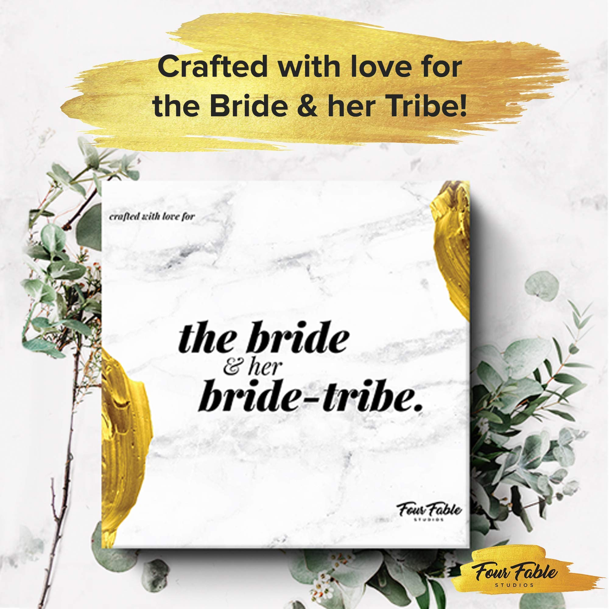Bachelorette Party Decorations Kit by Four Fable Studios   Bridal Shower Supplies Including, Rhinestone Tiara, Rose Gold Sash, Bridal Veil with Pearls Bachelorette Banner for The Bride + Bride Tribe
