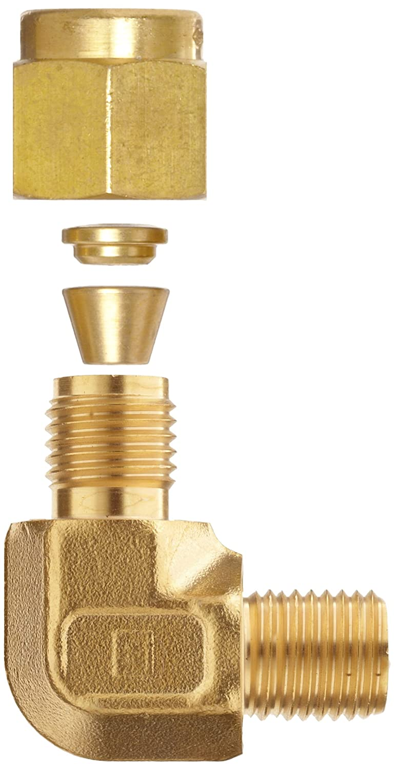 1//8 Tube OD x 1//8 NPT Male 90 Degree Elbow Parker A-Lok 2MSEL2N-B Brass Compression Tube Fitting