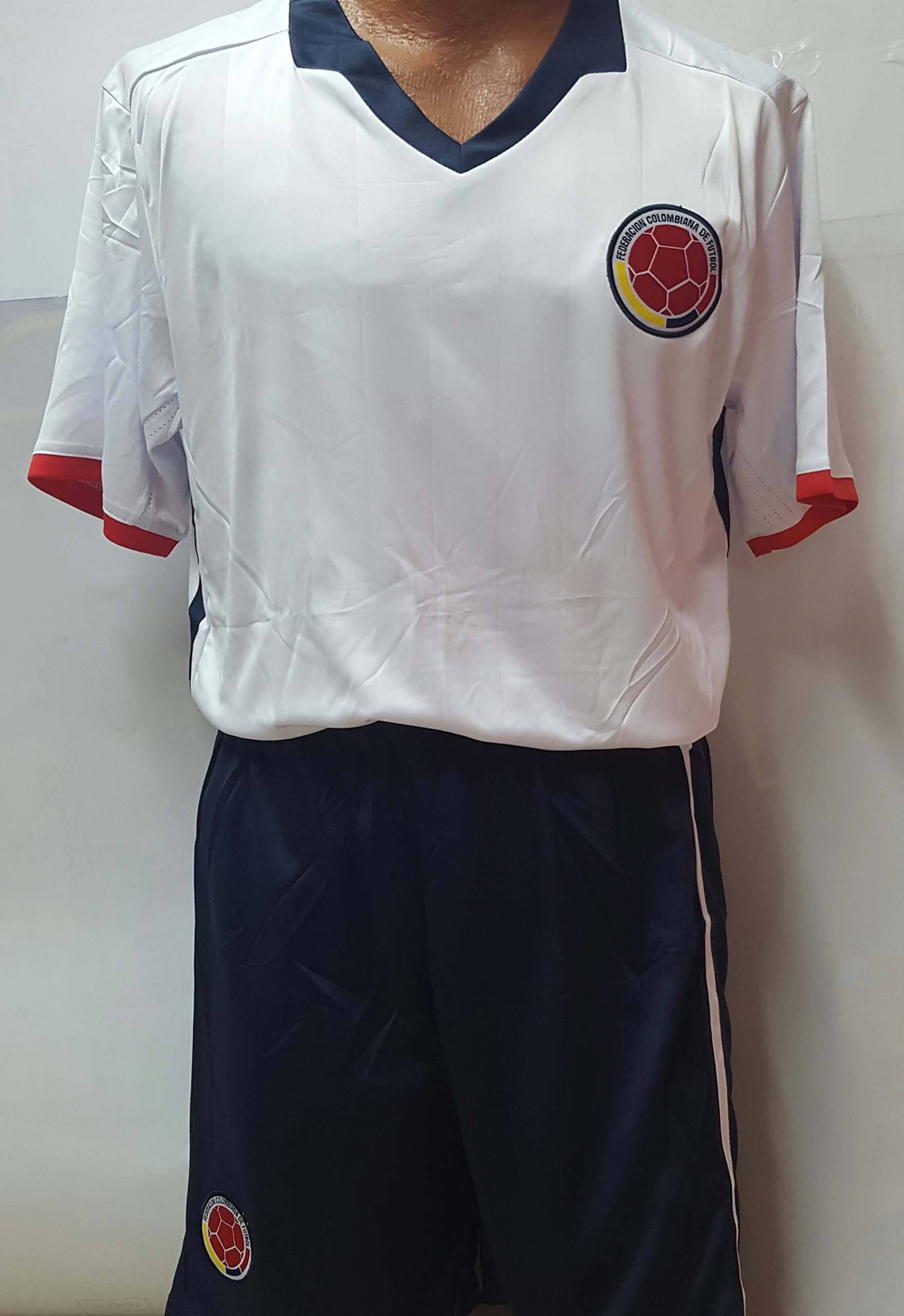 New Colombia National Team Away White & Navy Replica Jersey & Shorts Kit Adult Large