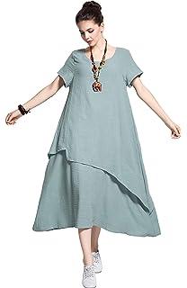 5d296999c1c Anysize Retro Soft Linen Cotton Dress Spring Summer Plus Size Clothing Y112