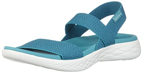 Suavemente equilibrado embargo  Buy Skechers Women's On-The-Go 600-Ideal Turquoise Fashion Sandals-5 UK (8  US) (15310-TURQ) at Amazon.in