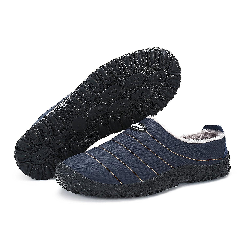 Leaproo Men Women Winter Slippers Fur-Lined Non-slip Waterproof Casual Warm Comfortable Shoes(Indoor& Outdoor)