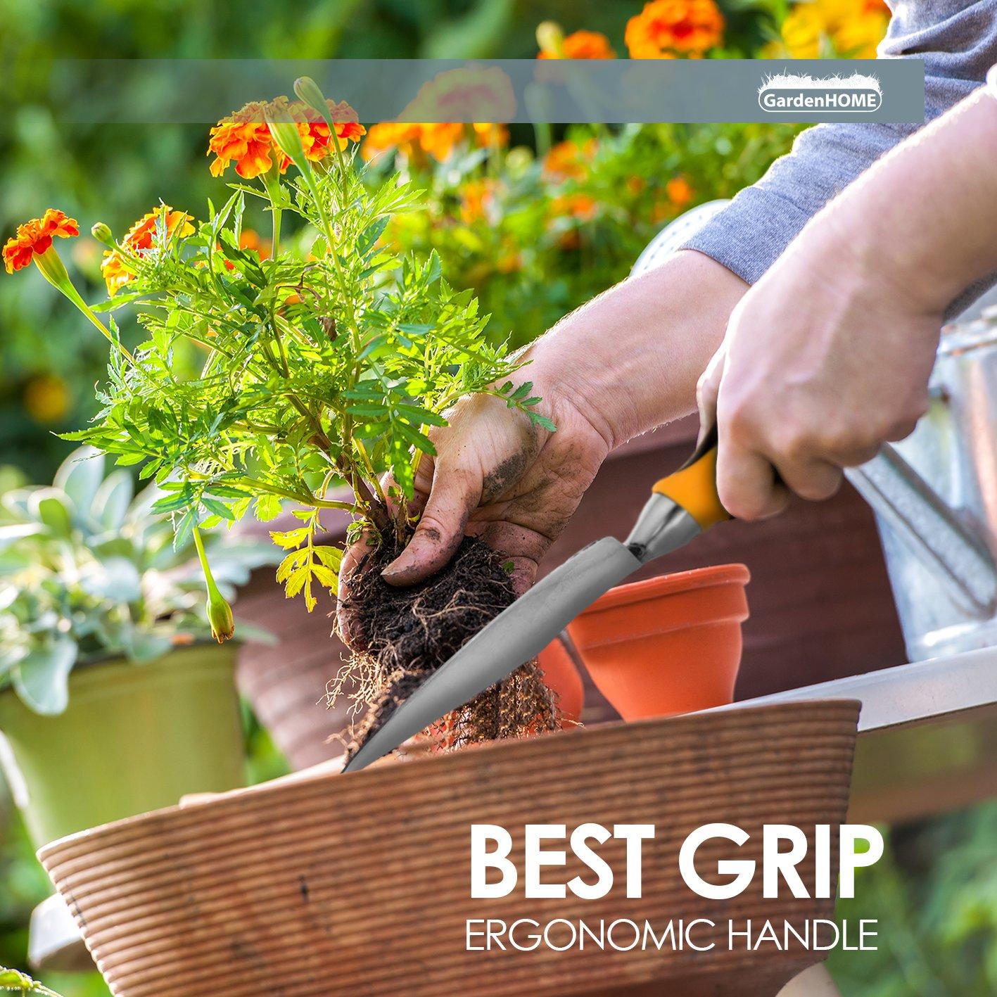 GardenHOME 8 Piece Garden Tool Set - 5 Heavy Duty Cast-Aluminium Tools with Ergonomic Handles, Handy Garden Storage Bag, a Pruner and a Roll of Plant Twist Ties by GardenHOME (Image #5)