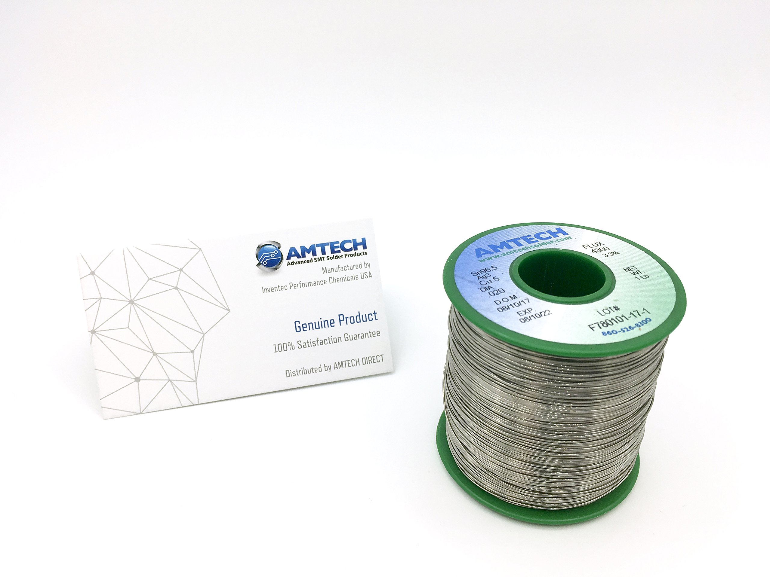 AMTECH SAC305 3.3% LF-4300 Resin Core Lead-free Water Washable Solder Wire (0.031'')