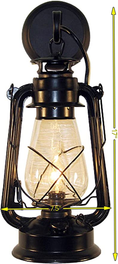 Rustic Lantern Wall Mounted Light Large Black Wall Sconces