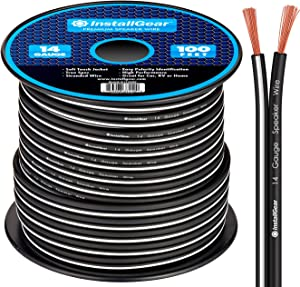InstallGear 14 Gauge AWG 100ft Speaker Wire Cable - Black