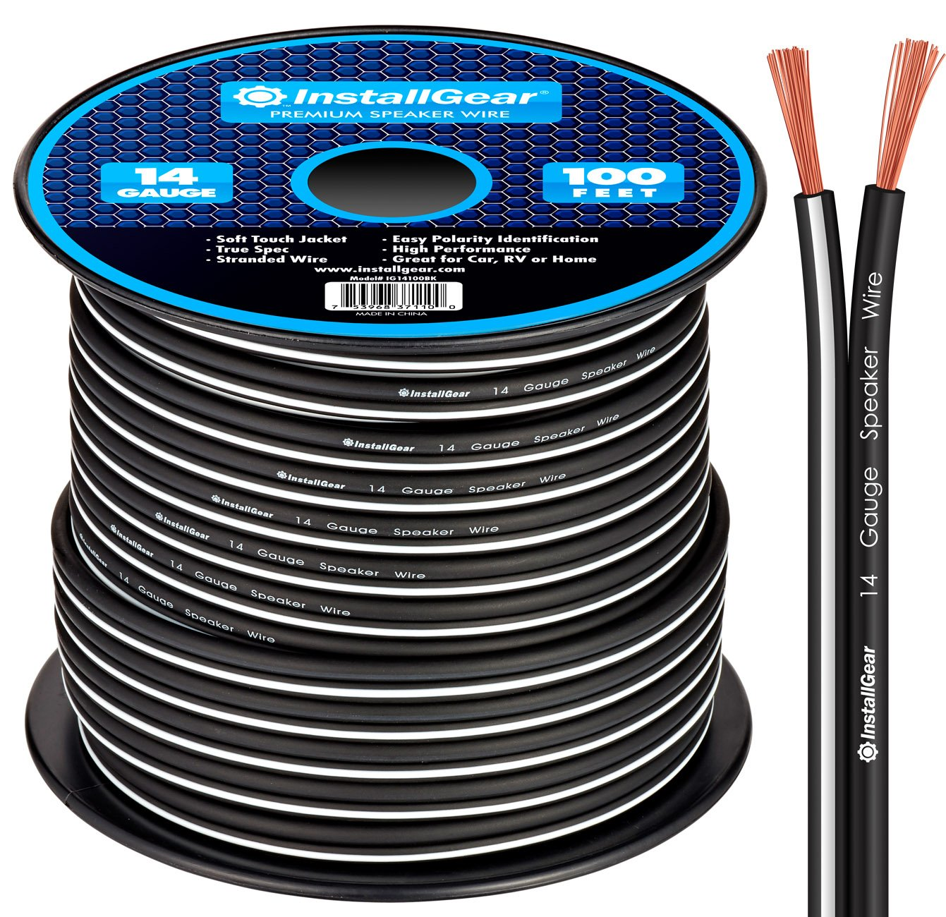 InstallGear 14 Gauge AWG 100ft Speaker Wire Cable - Black by InstallGear