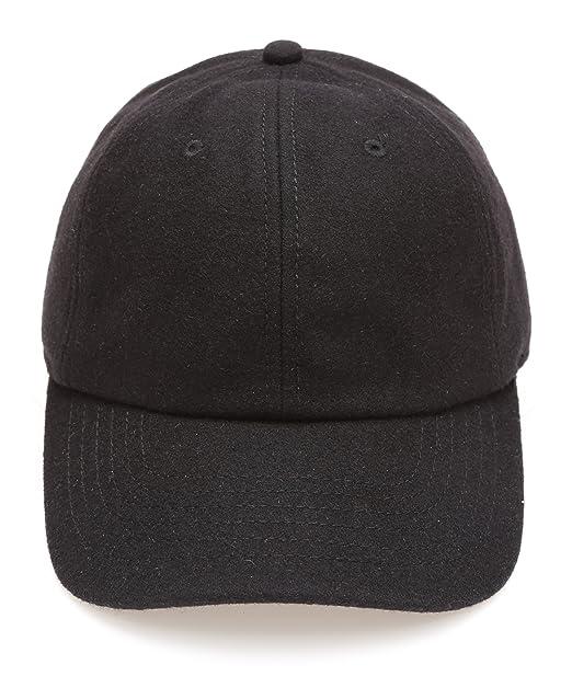 7c2c1671cff MIRMARU Men s Wool Blend Baseball Cap with Adjustable Size Strap(Black)