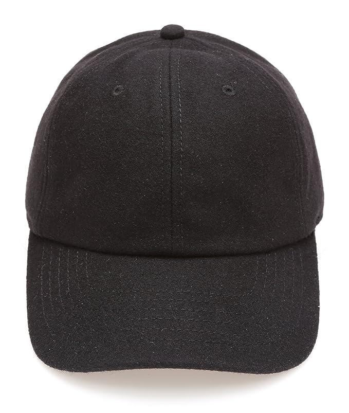 7150f20b175 MIRMARU Men s Wool Blend Baseball Cap with Adjustable Size Strap(Black) at  Amazon Men s Clothing store