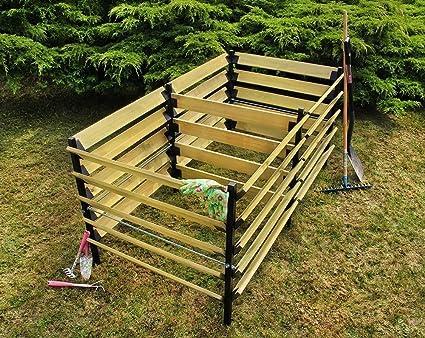 Compostador De Madera Y De Metal Madera De Pino Dimensiones 90x180x90 cm , Farbe:Brown
