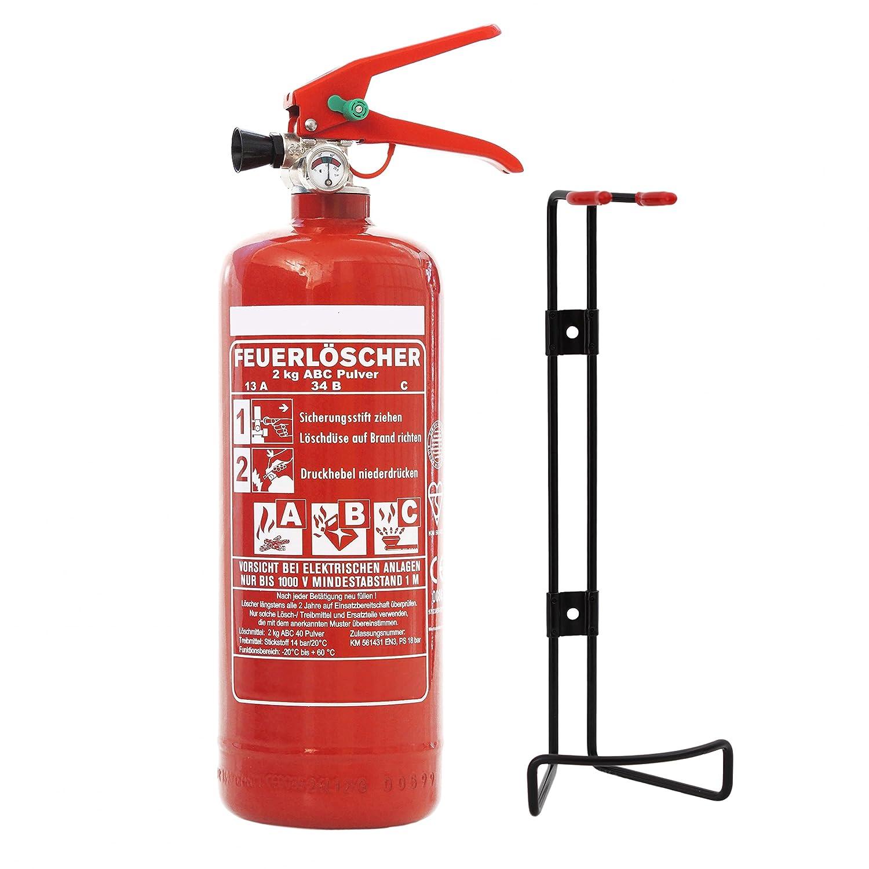 Auto Feuerlöscher 2kg ABC Pulverlöscher EN3 mit KFZ Halter &. großem Griff inkl. ANDRIS® Prüfnachweis mit Jahresmarke &. ISO-Symbolschild