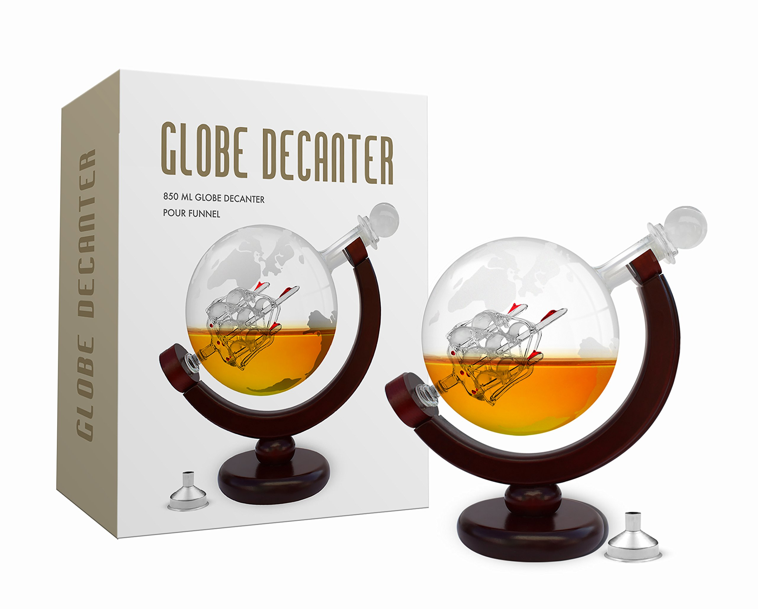 Whiskey Decanter Set World Etched Globe Decanter Antique Ship Glass Stopper Pour Funnel Liquor Dispenser Spirits Scotch Bourbon Vodka Rum Wine Tequila Brandy Perfect Gift 850 ml