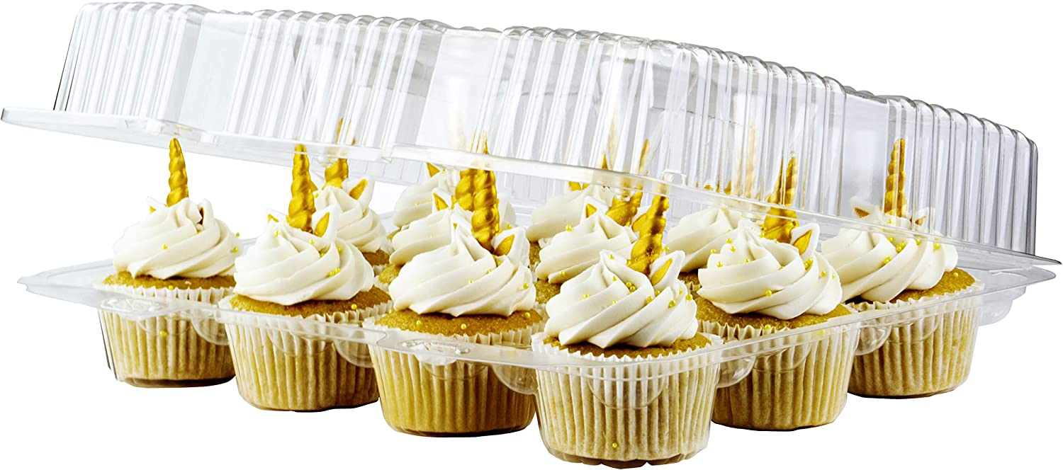 12 Cupcake Plastic Disposable Container Box By Chefible –Ergonomic & Practical Takeout Cupcake Carrier, Stackable & Space-saving Cupcake Holder, Food-Grade & BPA-Free Plastic Material –10-Pack