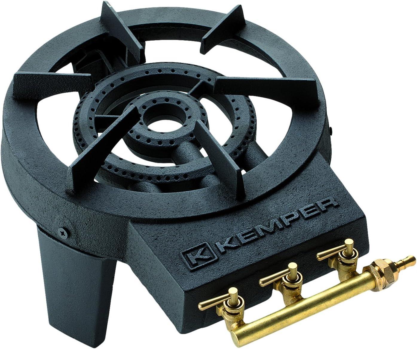 Kemper 104988 Com Gas 104988-Quemador Hierro colado con 3 grifos, 7x30x41 cm