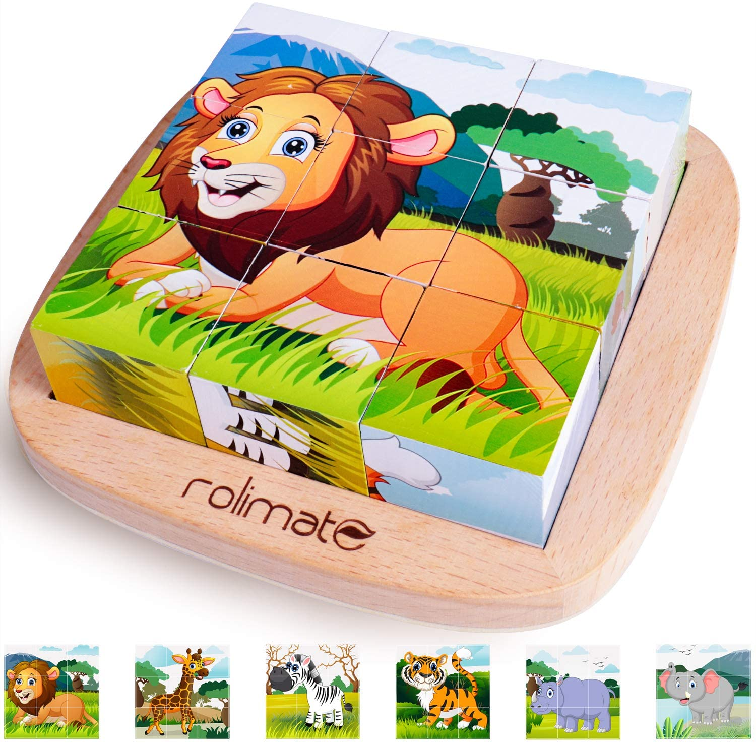 6 in 1 Wooden Block Puzzle Animal Cube Puzzle for 2 3 4+ Years Boy Girl Educational Toys Montessori Toys for Toddlers Jigsaw Puzzle with Puzzle Tray: Toys & Games