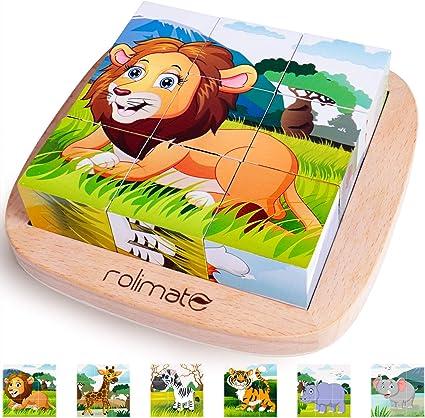 6 in 1 houten blok puzzel Animal Cube Puzzle voor 2 3 4+