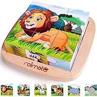 Rolimate Juguetes Rompecabezas de Cubos de Madera, Bloques de Rompecabezas de Animales Juguete Educativo Montessori…