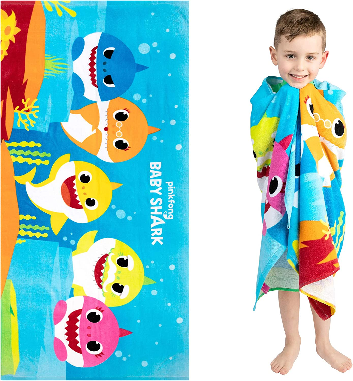"Franco Kids Super Soft Cotton Beach Towel, 28"" x 58"", Baby Shark"