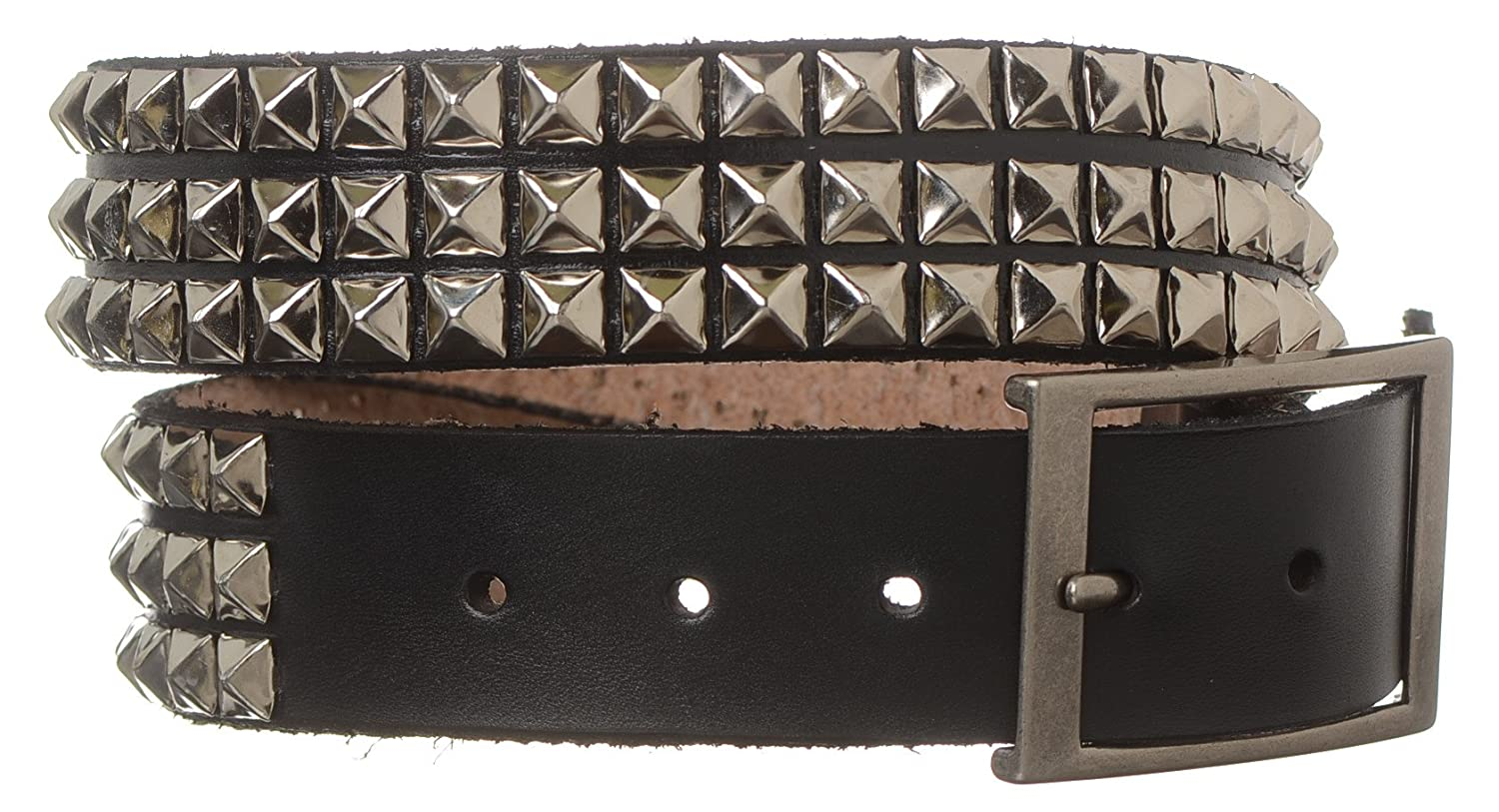Strait City Trading Co Mens 1-1//2 3 Row Pyramid Stud Heavy Leather Belt