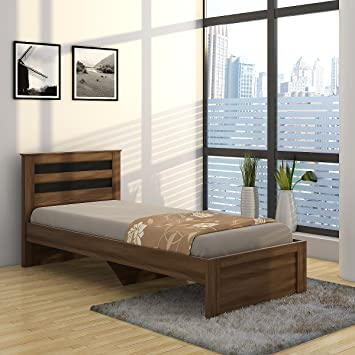 Spacewood Astersb Single Size Bed (Woodpore, Bronze Walnut)