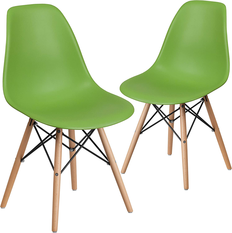 Flash Furniture 2 Pk. Elon Series Green Plastic Chair with Wooden Legs