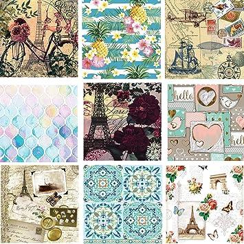 Bonzerdigs Decoupage Paper, Butterflies, Birds and Flowers, 1 Tissue of  Each Design ,Total 9 Pieces