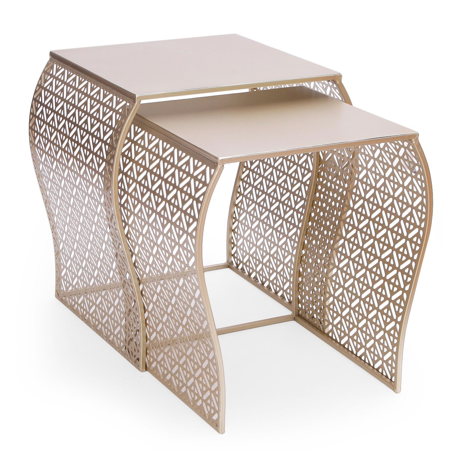 Adeco Luxury Modern Metal Golden Accent Nesting Stackable Side End Table, Set of 2 by Adeco