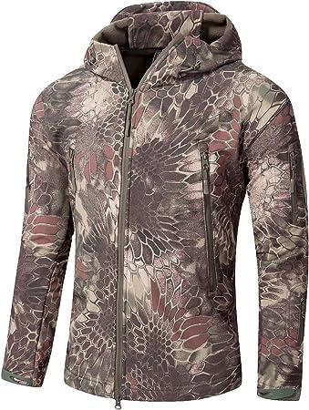 Image of YFNT Impermeable Militar táctica Lucha contra la Chaqueta de Softshell Camping al Aire Libre Caminar Camuflaje Hoodie Coat