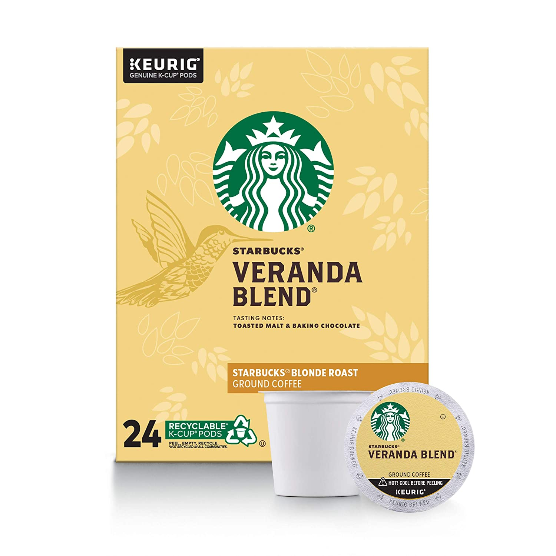 Starbucks Veranda Blend Coffee K-Cup Pods | Blonde Roast | Coffee Pods for Keurig Brewers | 1 Box (24 Pods)