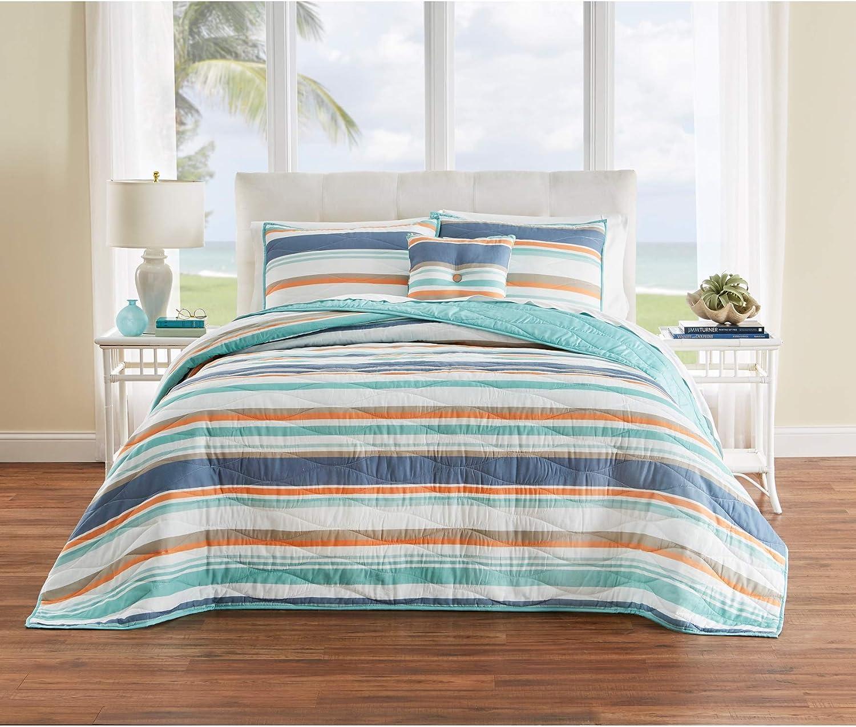 BrylaneHome Coastal Stripe Bedspread - King, Aqua Multi Stripe