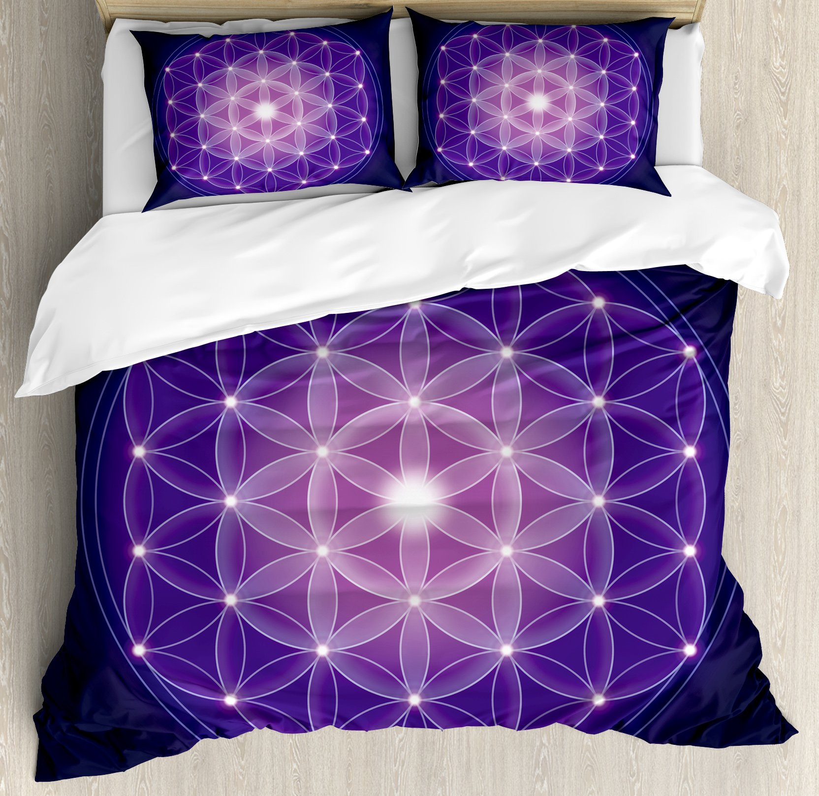 Ambesonne Dark Blue Duvet Cover Set by, Flower of Life with Stars Spiritual Symbol Sacred Geometry Ancient, 3 Piece Bedding Set with Pillow Shams, Queen/Full, Dark Blue Pink Purple