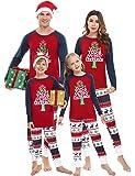 Irevial Pijamas de Navidad Familia Conjunto, Manga Larga Camiseta con Estampado de Feliz Navidad y pantalón Largo con…