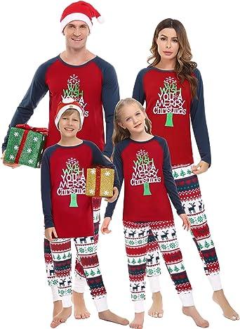 Irevial Pijamas de Navidad Familia Conjunto, Manga Larga Camiseta con Estampado de Feliz Navidad y pantalón Largo con cordón y Bolsillos 2 Piezas,Ropa ...
