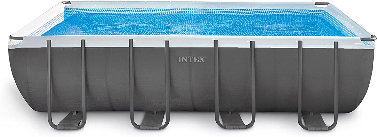 Amazon Com Intex 18ft X 9ft X 52in Ultra Frame Rectangular Pool Set With Sand Filter Pump Ladder Ground Cloth Pool Cover Garden Outdoor