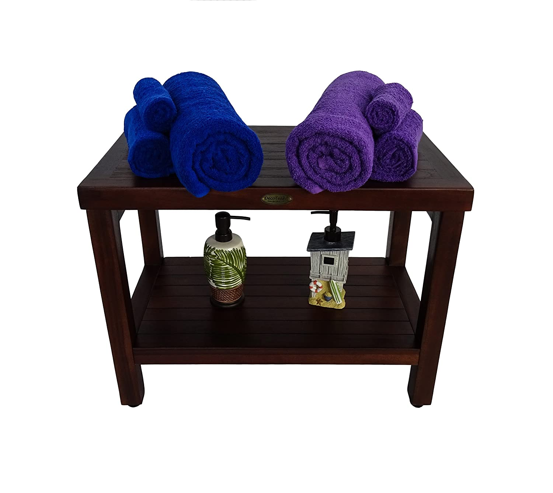 Amazoncom 24 Teak Shower Bench With Shelf Adjustable Height Feet