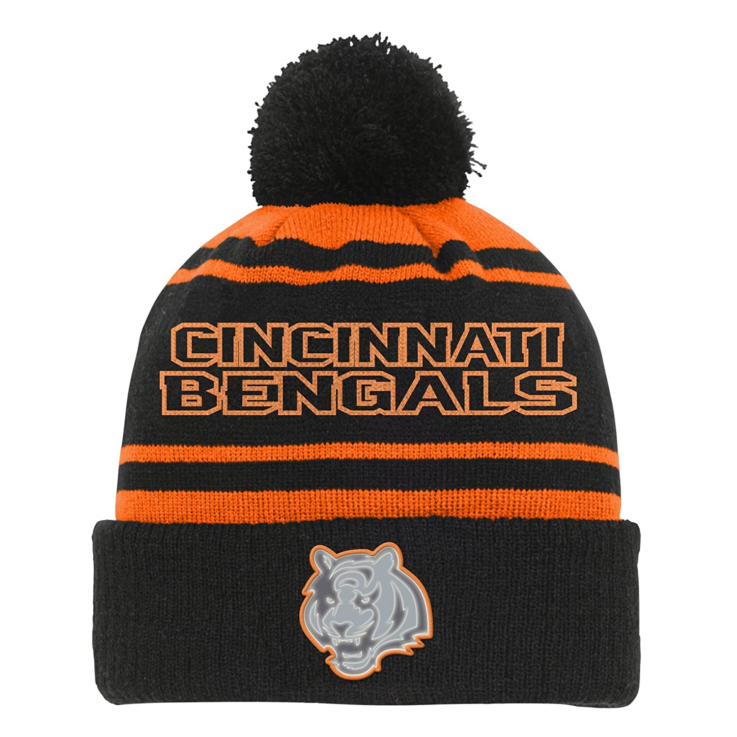 f9fb097e8c2 Amazon.com   Outerstuff NFL Teen-Boys NFL Youth Boys Reflective Cuff Knit  Pom Hat   Sports   Outdoors