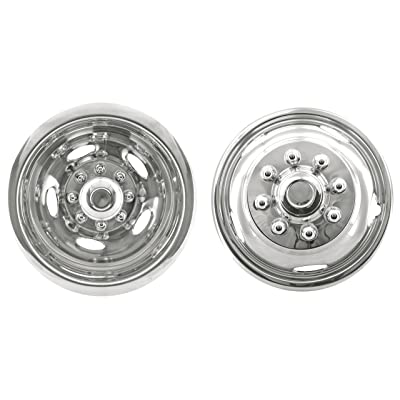 "Kaper II SS-1704-EZN Polished Stainless Steel Wheel Simulator Set for Chevrolet/Dodge Pick Up (17"" x 6"" 8 Lug 5 Hand Hole Push on Set with Front Hub Pop Off Cap): Automotive"
